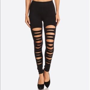 Pants - NWT Black Sexy ripped design skinny leggings